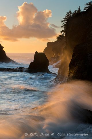 A wave crashes along the cliffs of Secret Beach in Brookings State Park, Oregon. USA
